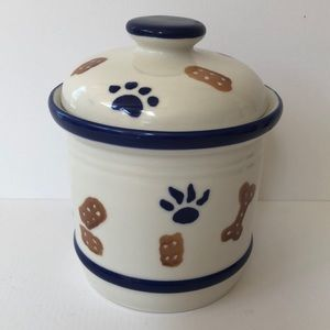 Dog pet treat ceramic cookie jar/canister w/lid